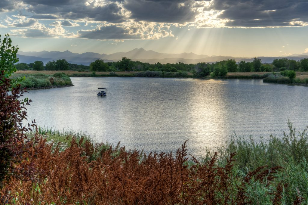 Lake view with rocky mountains in the background